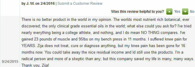 Zija Customer Review
