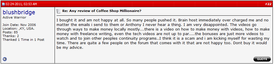 the coffee shop millionaire bbb review