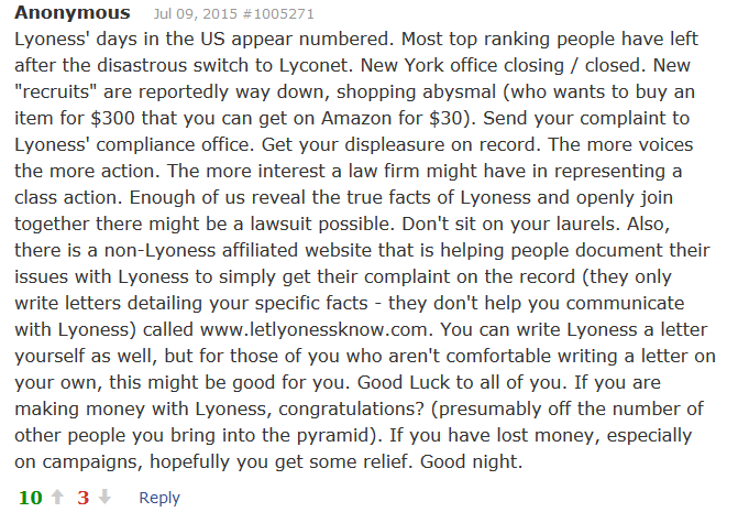 More Lyoness Complaints