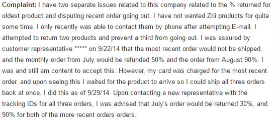 Zrii Complaint Reviews