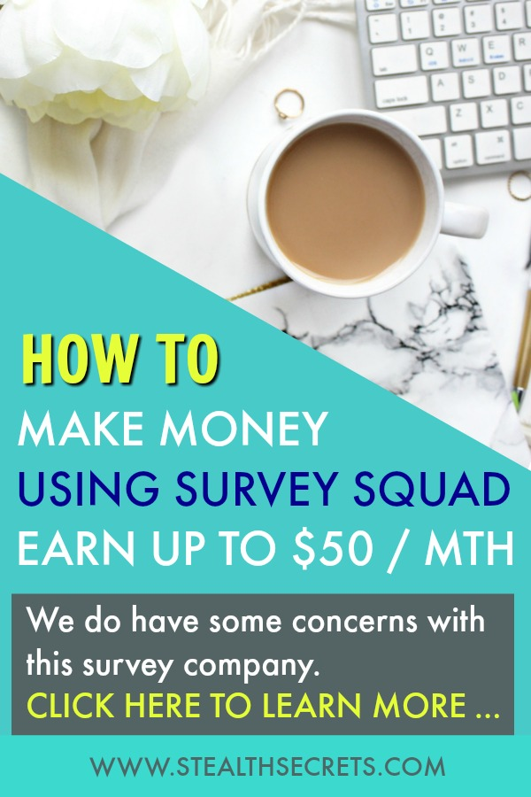 Learn how to make money using Survey Squad. You can earn up to $50 per month, but we do have some concerns with this program. Click here to learn more.