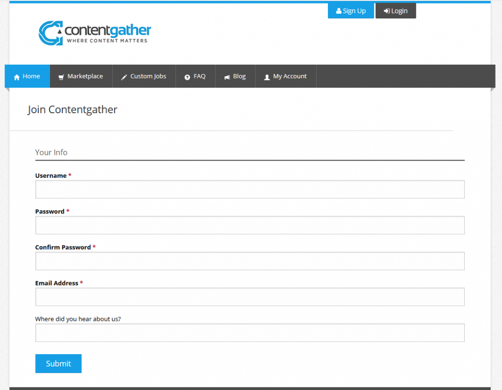 Contentgather sign up