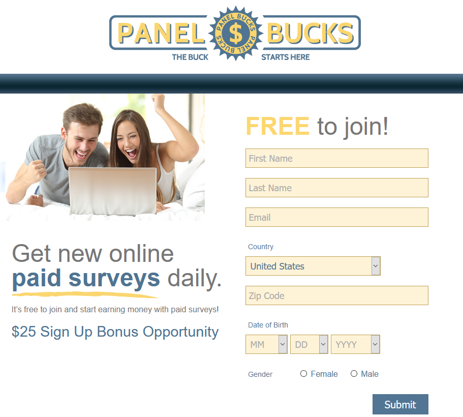 Panel Bucks Sign Up